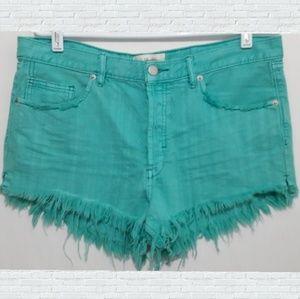 Free People Mint Green Raw Frayed Hem Jean Shorts